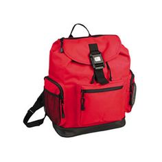 Backpack...600D Polyester w/ PVC backing reflector backpack with leather like bottom drawstring main compartment, zippered flap w/ white stitching and buckle closure, zippered front pocket w/ white stitching. Mesh side pockets