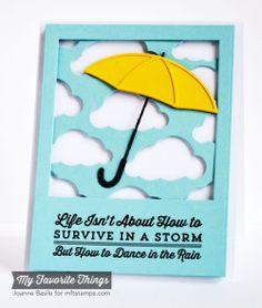 Blue Skies Ahead, Cloud Cover-Up Die-namics, Layered Umbrella Die-namics, Square STAX Die-namics - Joanne Basile #mftstamps