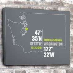 Washington Coordinate Wedding or Anniversary Gift Any by inkofme