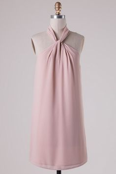 Twisted Halter Neck Dress - Champagne - Blue Chic Boutique  - 1