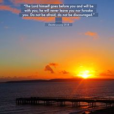 The Lord himself goes before you and will be with you.... Sunset over Boscombe Pier, Dorset, UK