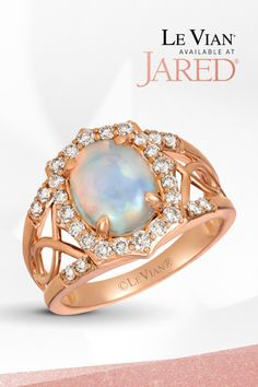 Savor every flavor. A Neopolitan Opal forms the sweet center of a Strawberry Gold band encasing Nude Diamonds from designer Le Vian. Diamond Jewelry, Gemstone Jewelry, Le Vian, 2 Carat, Diamond Stone, Opal Rings, Gold Bands, Fashion Rings, Ring Designs
