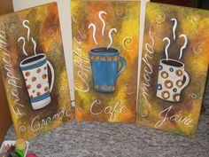 Coffee mug painting acrylic canvas