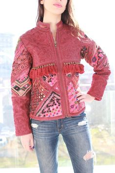 Excited to share the latest addition to my shop: bohemian banjara vintage leather biker jacket gypsy vibrant hippie boho oak hippy coat leather L by vanessasharples Hippie Boho, Bohemian Style, Embroidered Leather Jacket, Heavy Jacket, Biker, Vintage Fabrics, Piece Of Clothing, Vintage Leather, Jackets For Women
