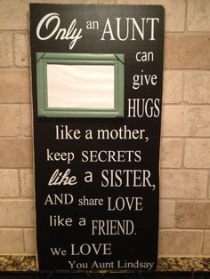 Only An Aunt Personalized Wood Sign by FussyMussyDesigns on Etsy, $33.00