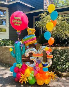 "Balloons Boutique San Antonio on Instagram: ""Miss fiesta? No worries, WE BRING FIESTA TO YOU🎈"" Balloon Arrangements, Balloon Centerpieces, Balloon Decorations Party, Birthday Decorations, Large Balloons, Number Balloons, Balloon Gift, Balloon Garland, Ballon Crafts"