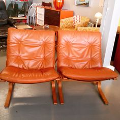 Teak & Leather Lounge Chair Set $775 #sold
