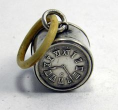 antique silver clock face baby rattle ... ca. 1920