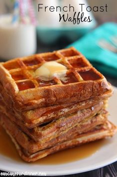 French Toast Waffles - French Toast that is made in a waffle iron.  No more soggy french toast ever.