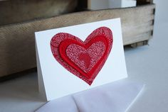 I Heart Africa Red Shweshwe fabric heart sewn card Announcement Cards, Shop Logo, South Africa, Printing On Fabric, Wax, Recycling, Doodles, Articles, Texture