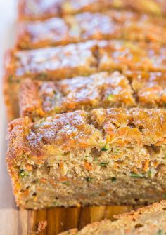 Carrot Zucchini Bread - Fast, easy, one bowl, no mixer!! Super soft, moist, and tastes so good you'll forget it's on the healthier side!!