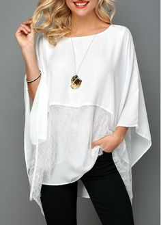Round Neck Overlay Embellished Lace Panel Blouse Source by Blouses Stylish Tops For Girls, Trendy Tops For Women, Blouses For Women, Mode Abaya, Mode Hijab, Look Fashion, Fashion Outfits, Trendy Fashion, Royal Blue Blouse