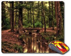 Mouse Mat great computer pad office accessories computer desk accessory best mouse pad Computer Mouse Photo mouse pad Nature Images Amazingly picture beautiful photo of a Nature Landscape nice Forest Trees and Water Running Bridge Pool. - Beauty gifts for Home decor or Office decor adds charm to your home office or workplace. p#107  Beautiful Mousepads are rectangle shaped stylish omfortable mouse pads.