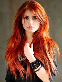 long shaggy hairstyles for thin hair. (( wish I had the guts to go this color ))