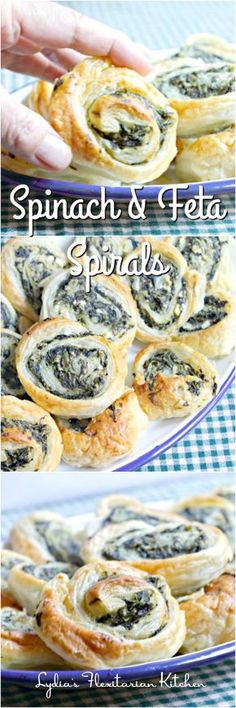 healthy meals food recipes diiner cooking Spinach and Feta Spirals ~ Lydias Flexitarian Kitchen Best Appetizers, Appetizer Recipes, Snack Recipes, Cooking Recipes, Delicious Appetizers, Freezable Appetizers, Avacado Appetizers, Prociutto Appetizers, Mexican Appetizers