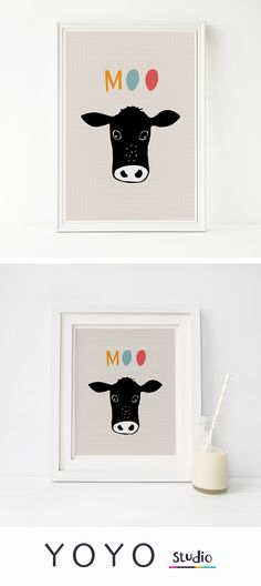 Cow print. Artwork for kids rooms, baby cow wall art. Hand drawn artwork available as a printable download.