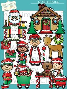 The North Pole clip art set is packed full of goodies. This clip art set contains 81 image files, which includes 41 color images and 40 black and white images in png. This is such a fun set with elves working, Santa reading a list, a photo of Santa with a reindeer and an elf , Santa's house and more.