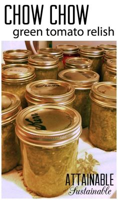 Chow chow is a spicy relish made from green tomatoes. It's excellent as a condiment for meats, on hamburgers, and even as an appetizer with crackers. And it's a great way to salvage end of season green tomatoes from the garden. Here's my mom's recipe.