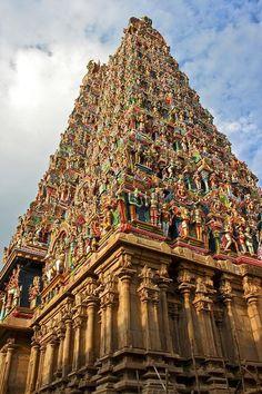 Hindu temple at Madura with hand painted hindu idols in vivid colours - India