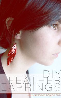 La Bella Ironia: DIY Fringed Feather Earrings (maybe make out of inner tube tires instead of leather - must experiment)