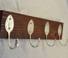 4 Vintage Spoons FUN Brown Painted Coat Rack by jjevensen on Etsy, $30.00