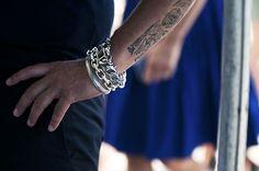 Very masculine set of wrist wear. Rugged look.