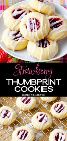 Classic Thumbprint Cookies with a sweet jam center are the perfect cookie to enjoy any time of the year! These cookies are buttery, fruity, and drizzled with just the right amount of sweet glaze. Best Dessert Recipes, Sweet Recipes, Cookie Recipes, Snack Recipes, Delicious Recipes, Thumbprint Cookies Recipe, Jam Cookies, Homemade Strawberry Jam, Strawberry Recipes