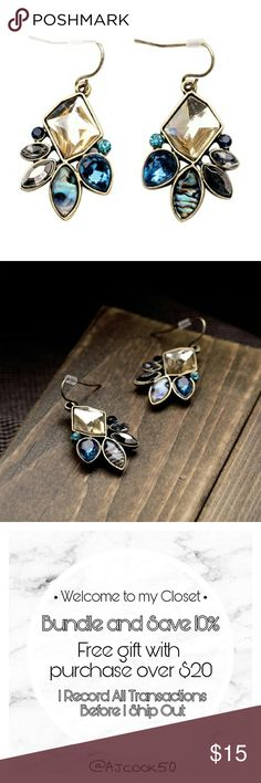 Boho Crystal Dangle Earrings Beautiful boho multi color crystal dangle earrings. Material: Zinc, Resin, Crystal. I have matching necklace, bracelet and ring. Ask me to share them to your wardrobe  JS2SJEGD71017 Jewelry Earrings