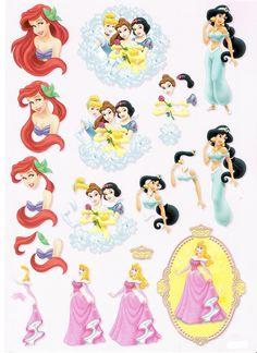 princesses disney Image 3d, 3d Sheets, Disney Cards, Disney Printables, Disney Princess Party, Disney Scrapbook, Scrapbooking, 3d Cards, Cat Drawing