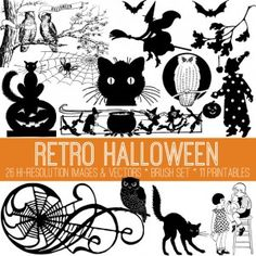 Vintage Halloween Witch Cats! - The Graphics Fairy