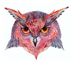 Owl face. Owla wild bird face water color art print, size10x8 (No. 27)