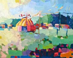 A Circus sets up in the countryside of Brittany, France. www.henryisaacs.com