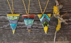 Items similar to Geometric ceramic triangle pendant with long chain, long necklace with chevron and line pattern on Etsy Ceramic Jewelry, Line Patterns, Chevron, Arrow Necklace, Triangle, Ceramics, Free Shipping, Chain, Pendant