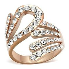 CJ347 Wholesale Rose Gold Modern Clear Crystal Ring - Rose Gold Rings - Rings