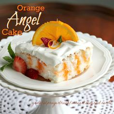 Orange Angel Cake....low calorie  with only 140 calories for a piece!