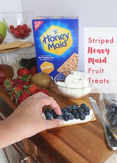 Fresh fruit, smooth cream cheese and a crunchy HONEY MAID graham cracker combine for a tasty treat! [Sp]
