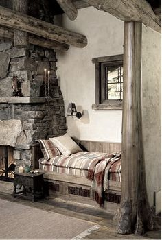Love a cozy place near the fireplace to sleep.