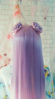 Imitating Ye Luoli's Zina Hairstyle - Natural Hair Styles Kawaii Hairstyles, Pretty Hairstyles, Braided Hairstyles, Mermaid Hairstyles, Hair Dye Colors, Cool Hair Color, Pastel Hair Colors, Pastel Wig, Hair Colour