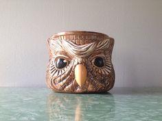 vintage 1970s ceramic owl planter. retro home decor.    ReRunRoom  