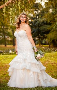 63dd650a4c8 6405+ Dramatic Lace Plus Size Fit and Flare Wedding Dress by Stella York  Fit And