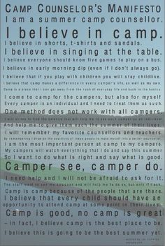 Camp Counselor Manifesto