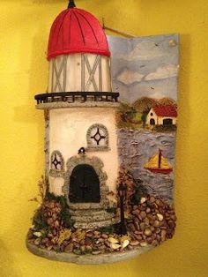MANUALIDADES LA ANDALUZA: TEJAS Miniature Houses, Sculpture Art, Bird, Christmas Ornaments, Holiday Decor, Creative, Outdoor Decor, Painting, Home Decor