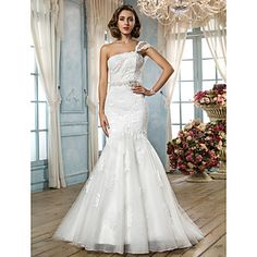 Trumpet/Mermaid One Shoulder Sweep/Brush Train Lace Tulle Lace Wedding Dress – EUR € 146.02