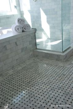 Stay at Home-ista - bathrooms - seamless glass shower, marble, basketweave, tiles, floor, marble, subway tiles, shower surround,  Beautiful marble
