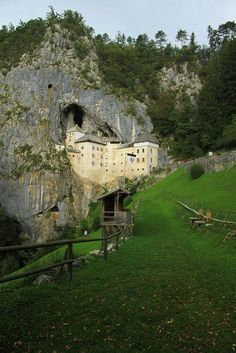 Predjama Castle, a renaissance castle built within a cave mouth in southwestern Slovenia