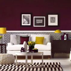 Burgundy and yellow room. Gorgeous. Part of a chameleon design series by Painter1 by Kolstar