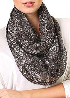 Amazon.com: Women's Python Snake Print Grey Brown Infinity Scarf, Fashion Loop Shawl: Clothing
