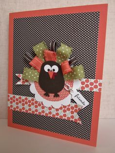Stampin' Up! Owl Punch Art Turkey with ribbons petal punch box stampin up Fall Cards, Holiday Cards, Christmas Cards, Owl Punch Cards, Diy Owl Cards, Thanksgiving Cards, Thanksgiving Turkey, Halloween Cards, Creative Cards