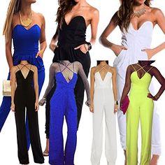 512441cac35 Tenflyer Women Jumpsuit Slim Sexy Clubwear Romper Jumpsuit Dress Party  umpsuit White