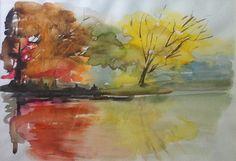 Riflessi sul lago, 2009, Maria Biloni, watercolor, 35 x 50